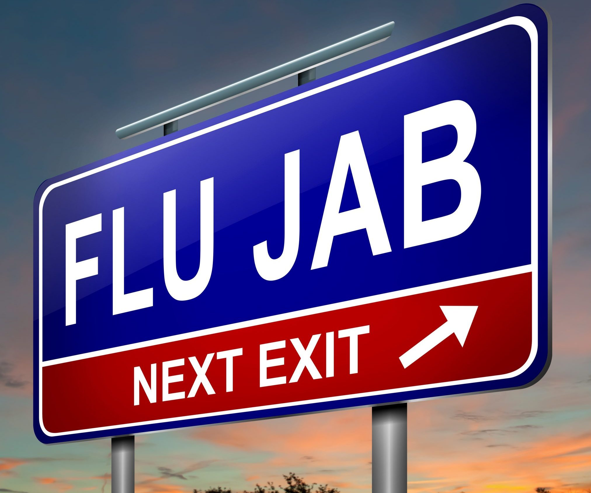 sign that says: 'flu jab next exit'