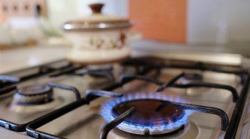 gas burner alight on stove top