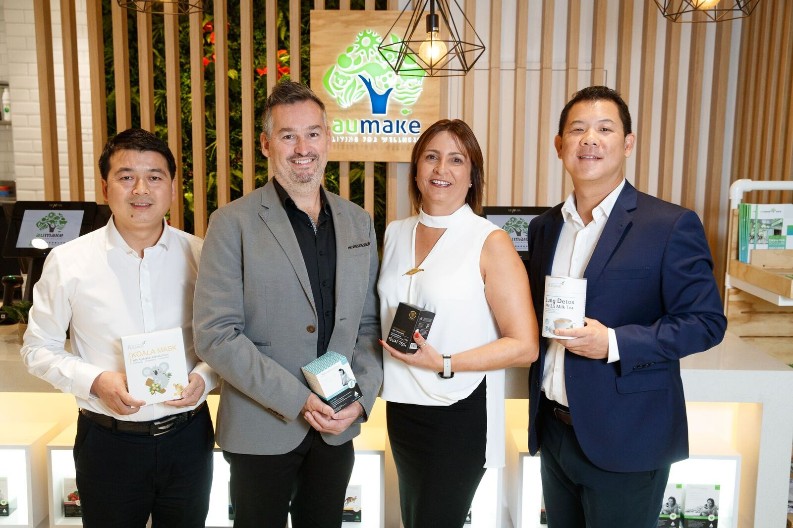 Joshua Chan (Au Make Managing Director and CEO), Michael Dixon (CEO Chemsave), Anita Dimetriou (Chemsave Marketing Manager), Keong Chan (AU Make Executive Chairman).