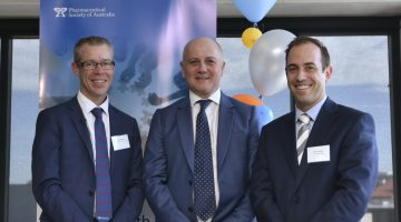 PSA National President Dr Shane Jackson, Australian Digital Health Agency CEO Tim Kelsey, and Chair of the MHR Project Working Group Chris Campbell at the guidelines launch in Canberra.