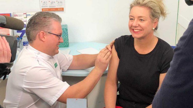 Victorian Senator Bridget McKenzie receives her flu vaccination at TerryWhiteChemmart Wodonga.