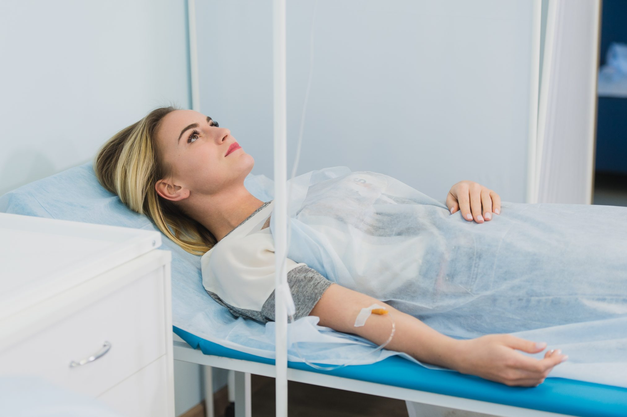woman on IV drip patient