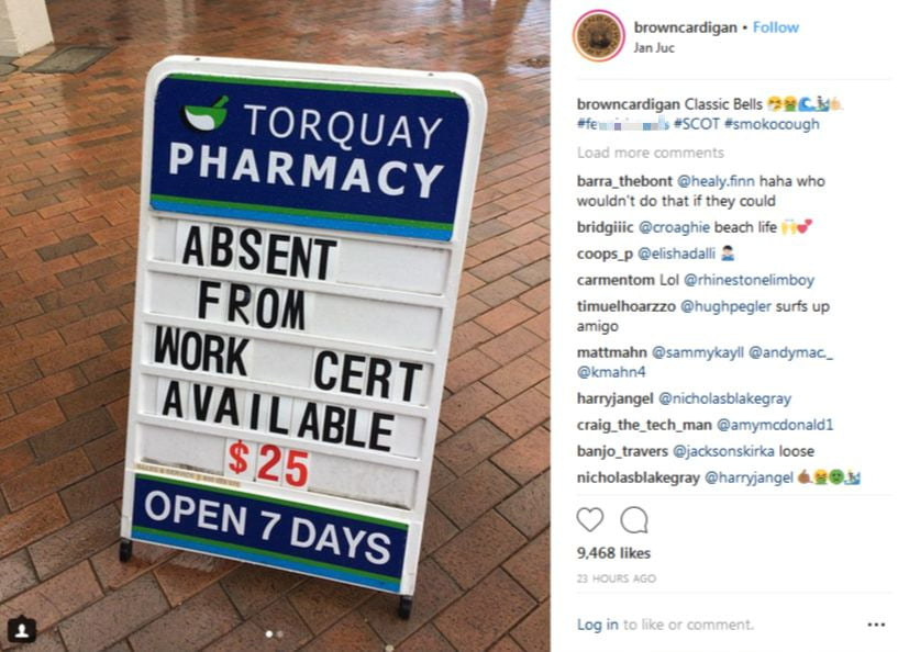 Torquay Pharmacy's sign. Image courtesy @browncardigan via Instagram.