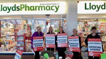 LloydsPharmacy workers on strike.