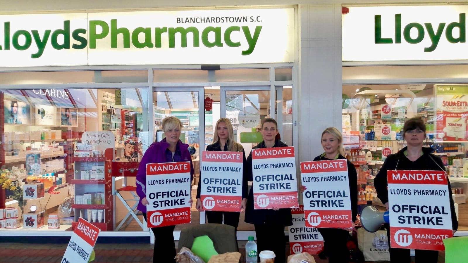 LloydsPharmacy workers on strike.