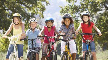 children playing bikes active