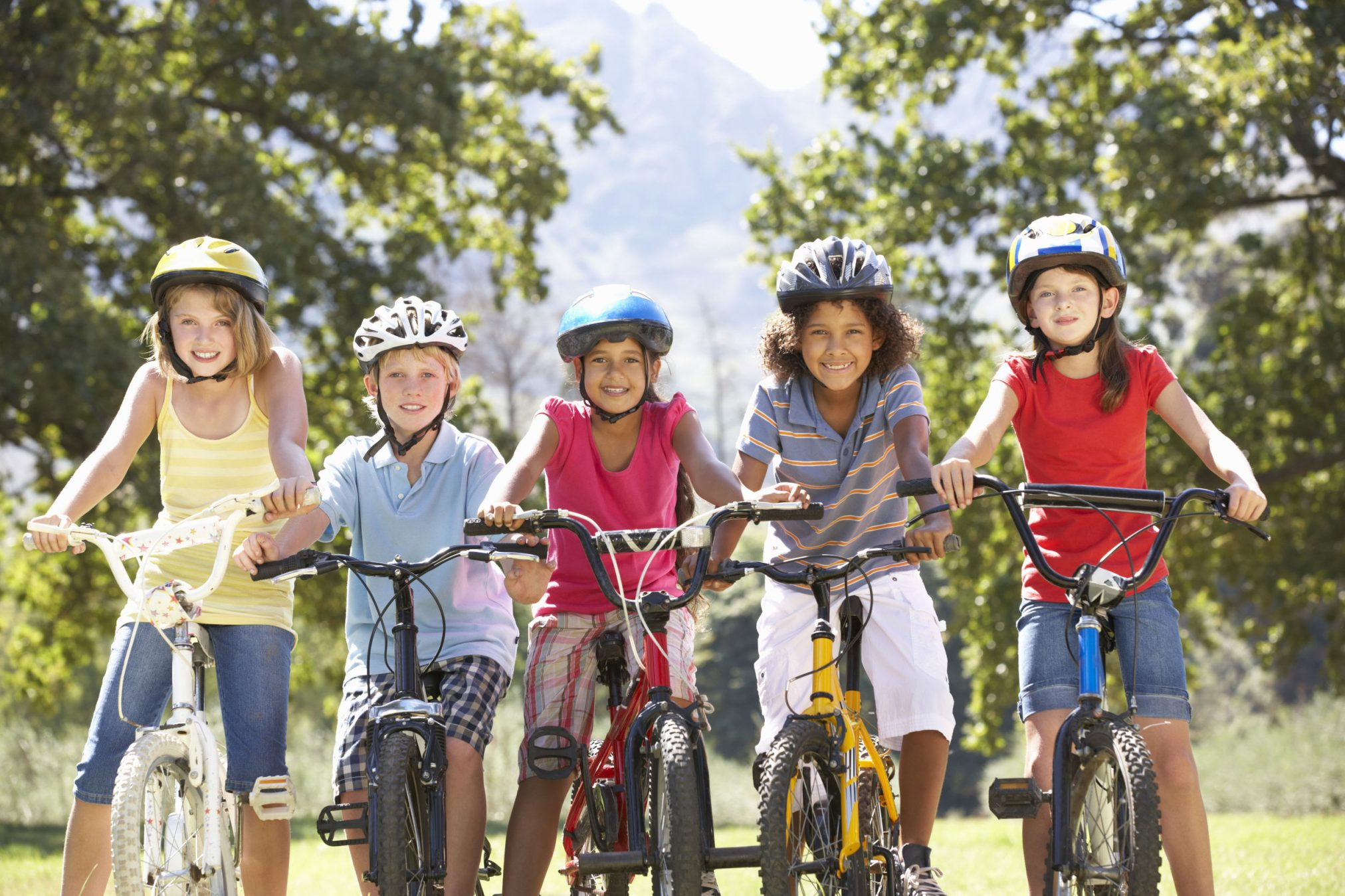 children playing bikes active