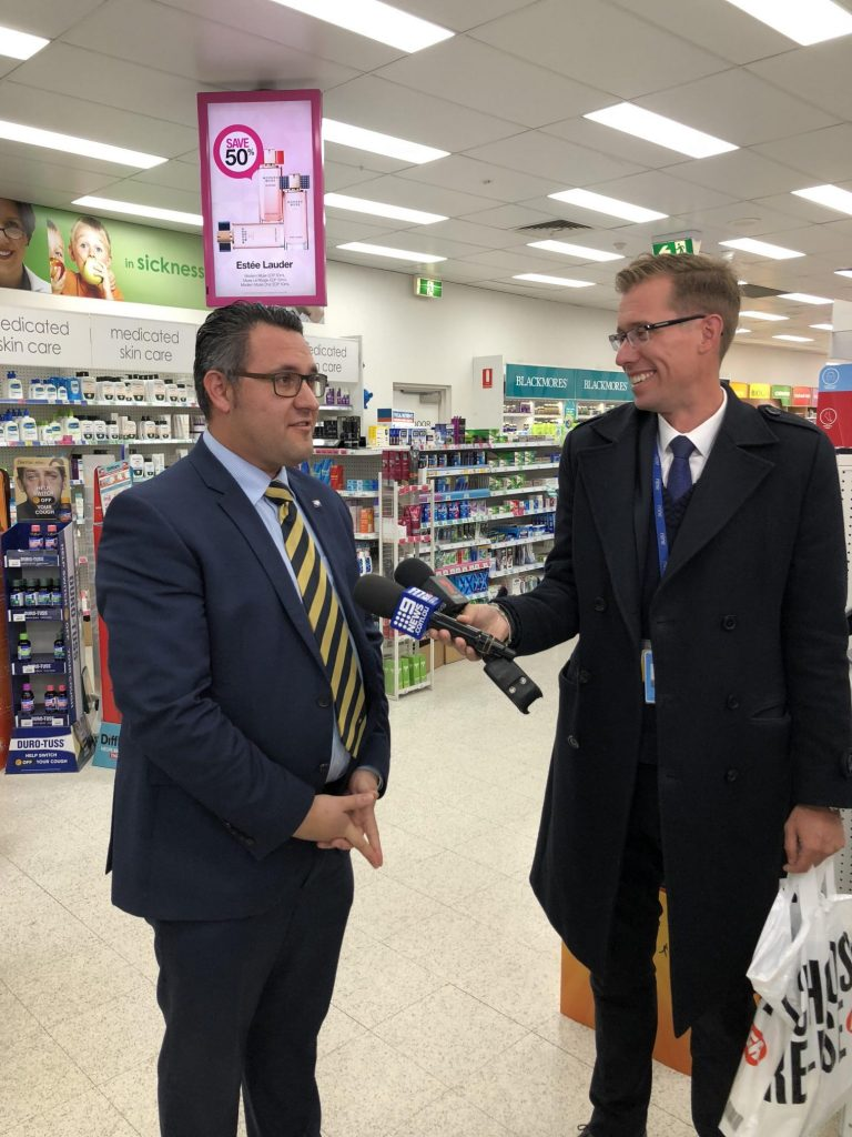 Anthony Tassone at the Victorian vaccination announcement. Image: Anthony Tassone via LinkedIn.