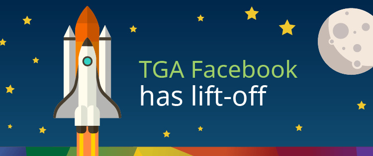 "cartoon rocket ship ""TGA facebook has lift-off"""