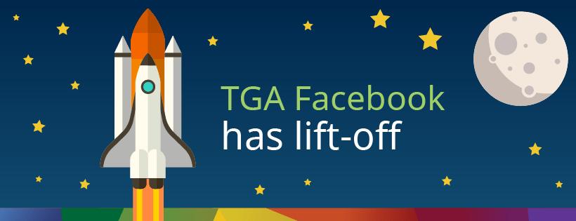 """cartoon rocket ship """"TGA facebook has lift-off"""""""