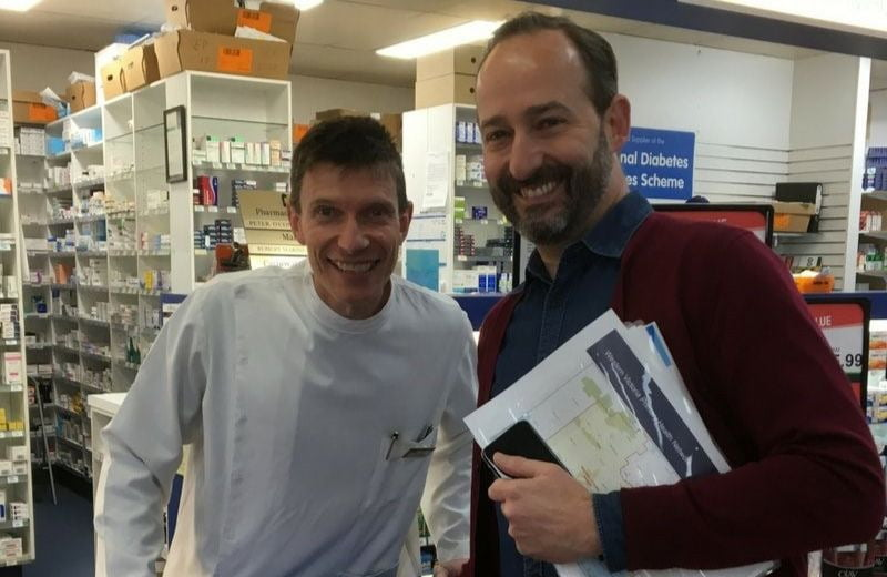 Carnovale pharmacy proprietor Peter O'Connor (left) with SafeScript Director, Matthew McCrone (right).