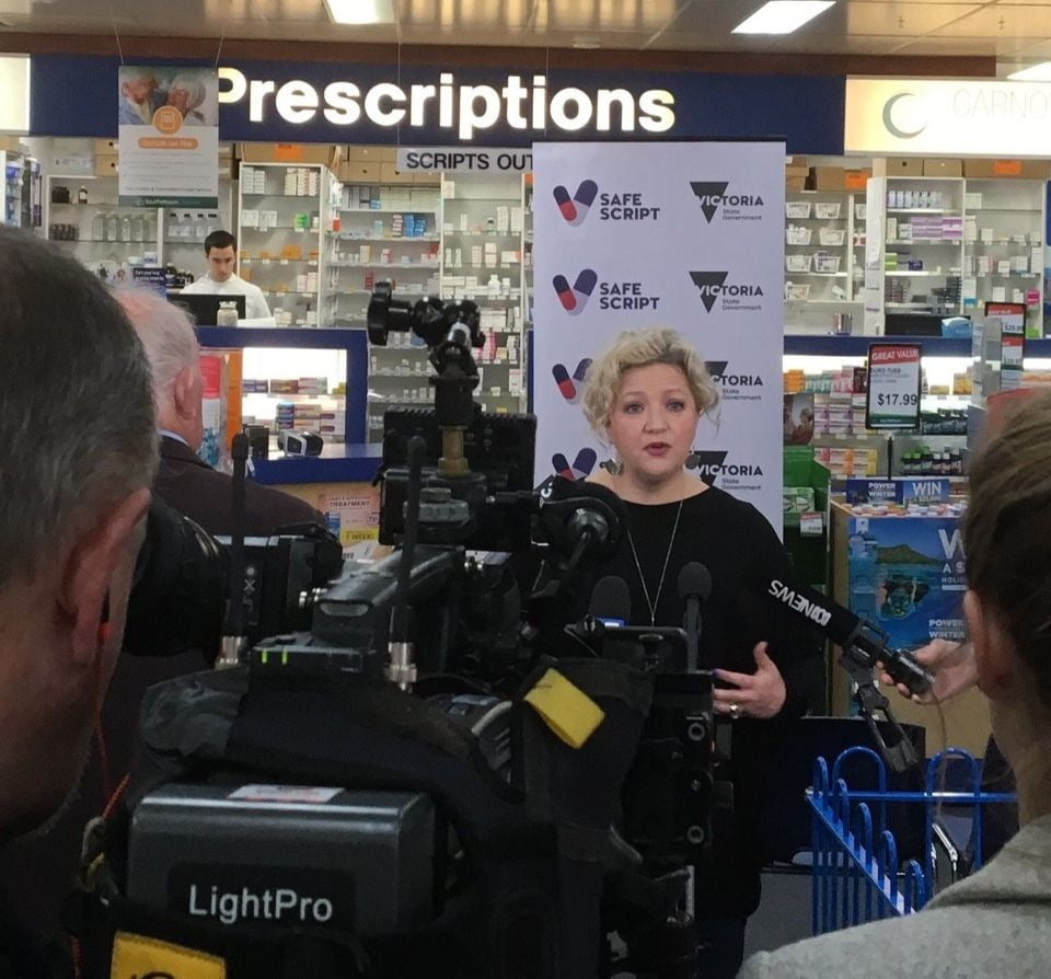 Victorian Health Minister Jill Hennessy speaks about SafeScript at Carnovale Pharmacy.