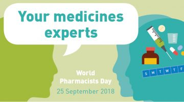 world pharmacists day logo two people talking
