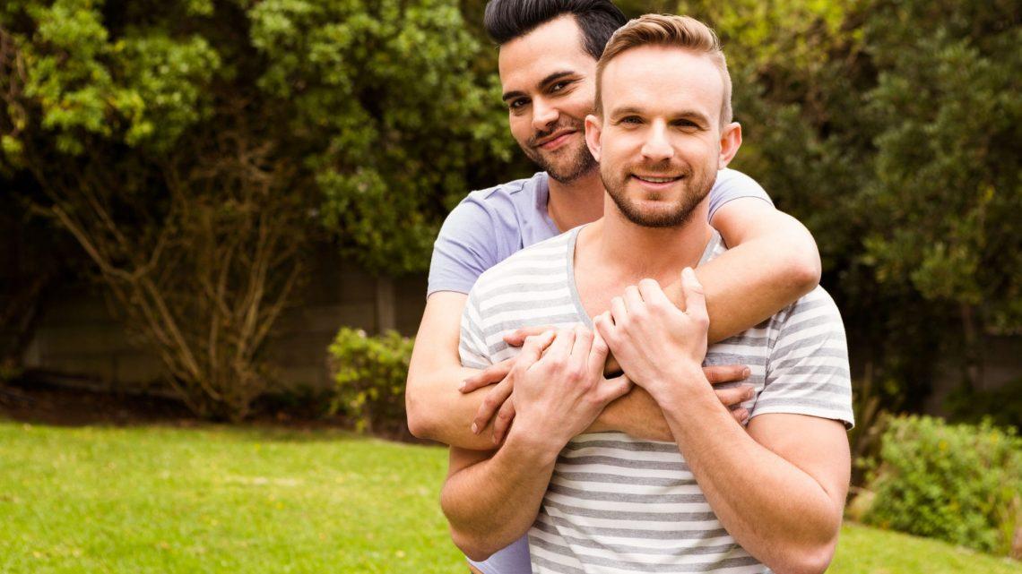 happy gay couple in park