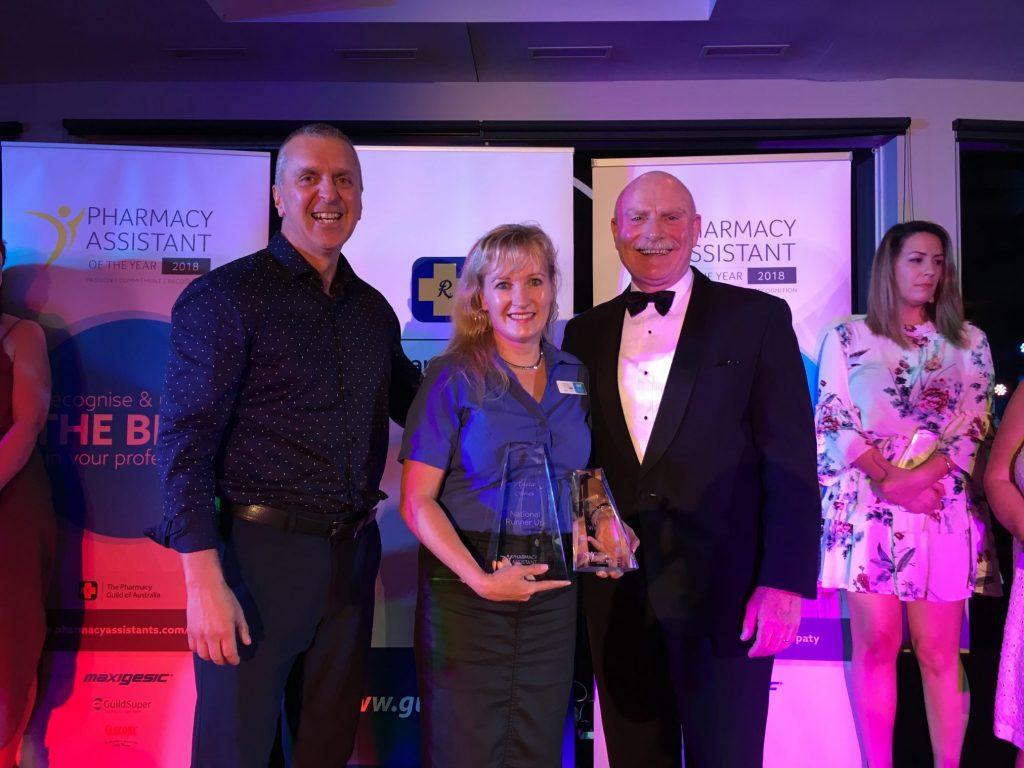 Pharmacy Guild national president George Tambassis with runner-up Anita Jones and AFT Pharmaceuticals' Calvin Mackenzie.