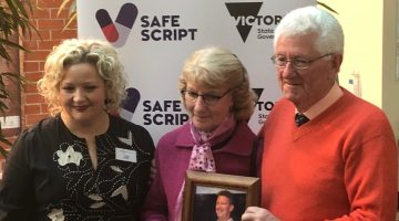 Margaret and John Millington at the SafeScript launch with Victorian Health Minister Jill Hennessy.