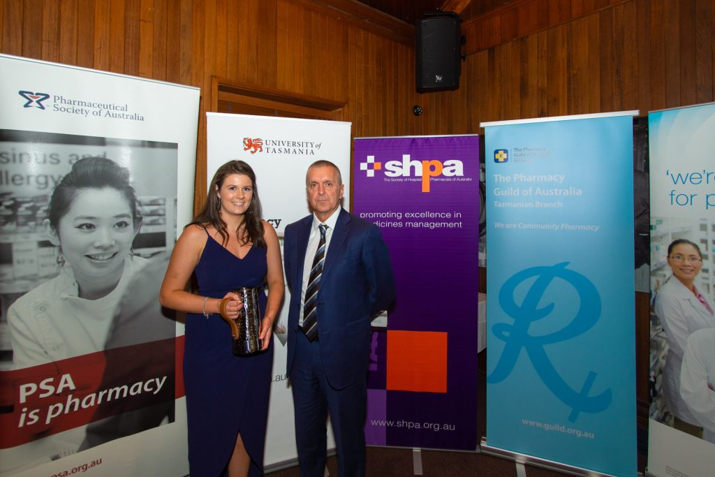 Early Career Pharmacist Award winner Emma Shepperd with George Tambassis