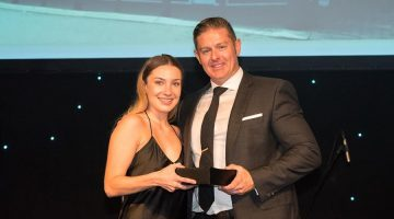 Alliance Pharmacy of the Year 2018: Woodvale Pharmacy WA - Retail Manager India Hasley with Darren Dye CEO Pharmacy Alliance