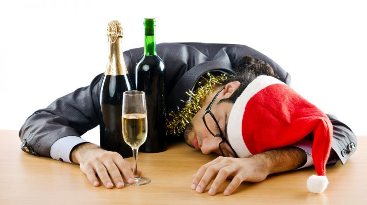 Drunk man passed out with wine