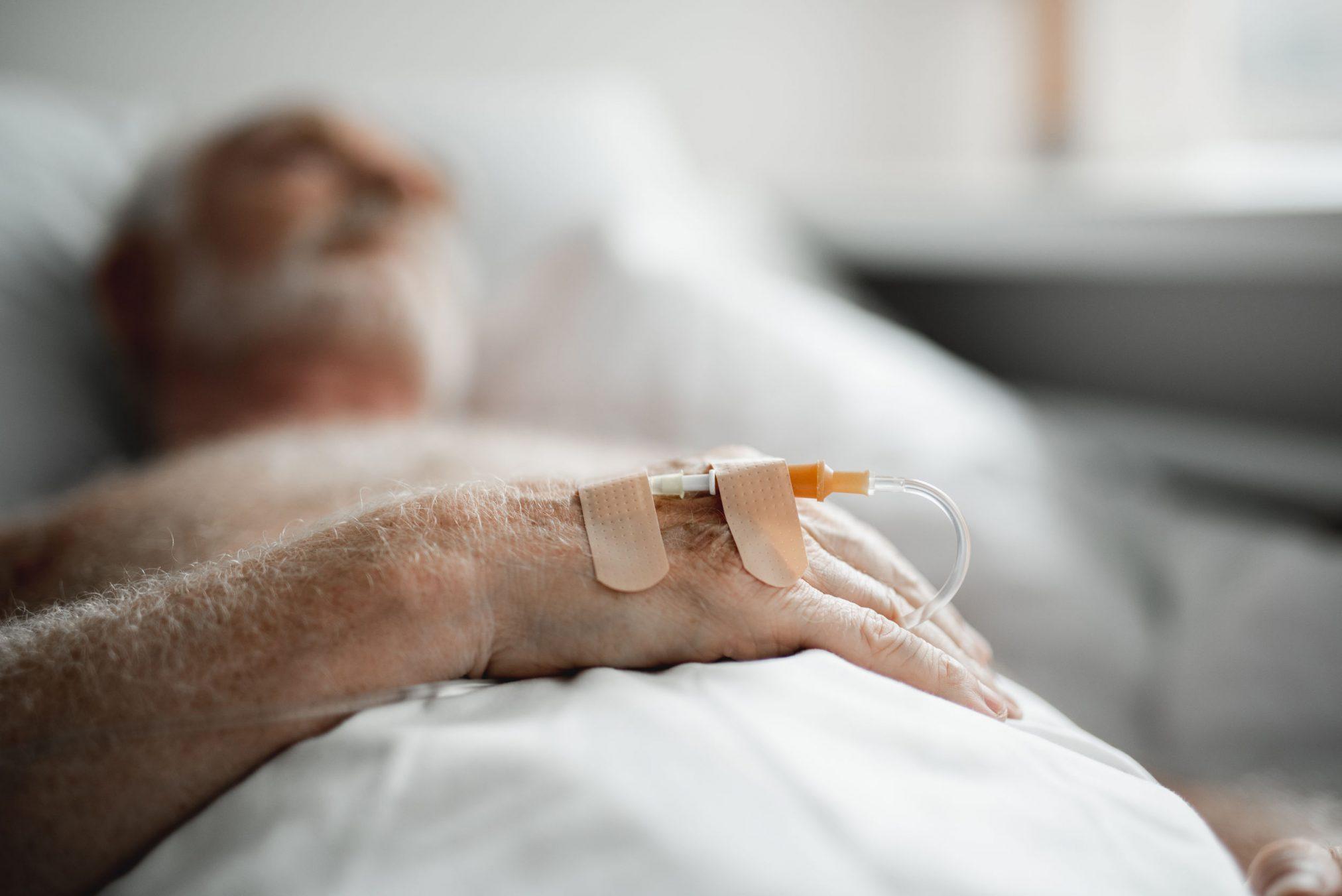 old elderly man IV hospital