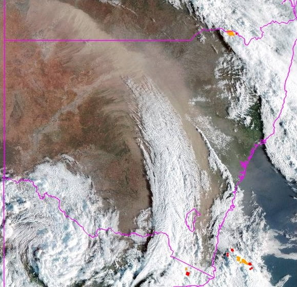 Dust storms over eastern Australia. Image: Bureau of Meteorology