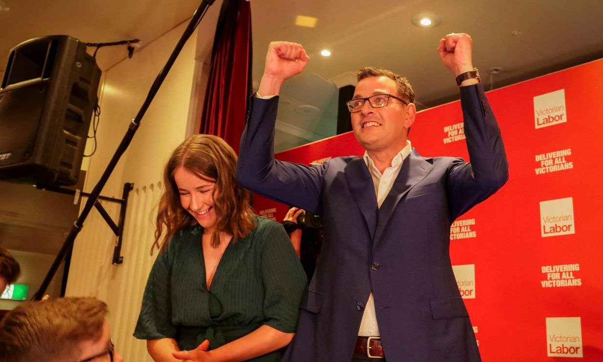 Daniel Andrews celebrates the Labor victory. Image courtesy Daniel Andrews via Twitter.