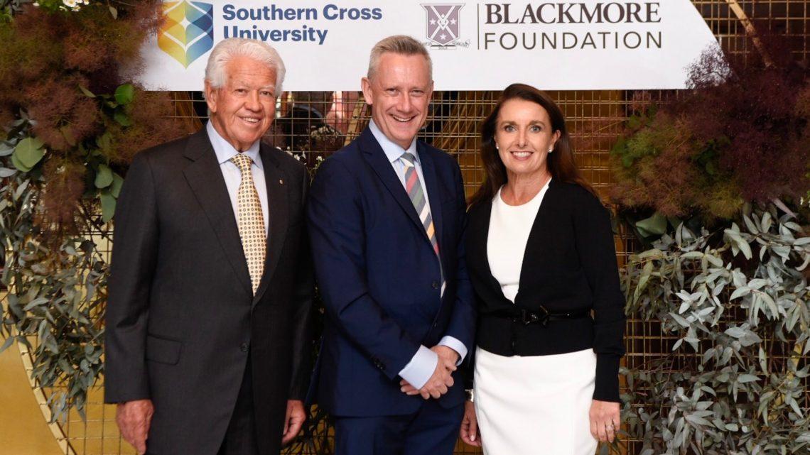 Marcus Blackmore AM, Professor Adam Shoemaker and Caroline Blackmore.