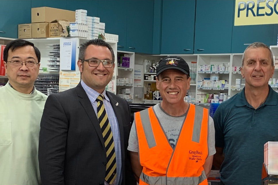 Lang Lang Pharmacy owner Mr Tian Low, Guild Victorian President Anthony Tassone, Health Minister Greg Hunt, Guild National President George Tambassis