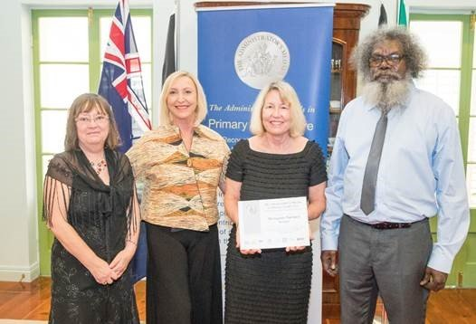 Maningrida Pharmacy Service Winners L to R: Denise Ashworth (Accountant - Mala'la Health Service Aboriginal Corporation), Her Honour the Honourable Vicki O'Halloran AM, Shelley Forester (United Chemists Palmerston), Charlie Gunabarra (Chairperson – Mala'la Health Service Aboriginal Corporation)