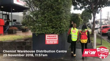 National Union of Workers representatives attend a Chemist Warehouse distribution centre. Image: NUW via Facebook
