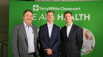 TerryWhite Chemmart CEO Anthony White, EBOS Group Chairman John Cullity and TerryWhite Chemmart Chief Operating Officer Duncan Phillips