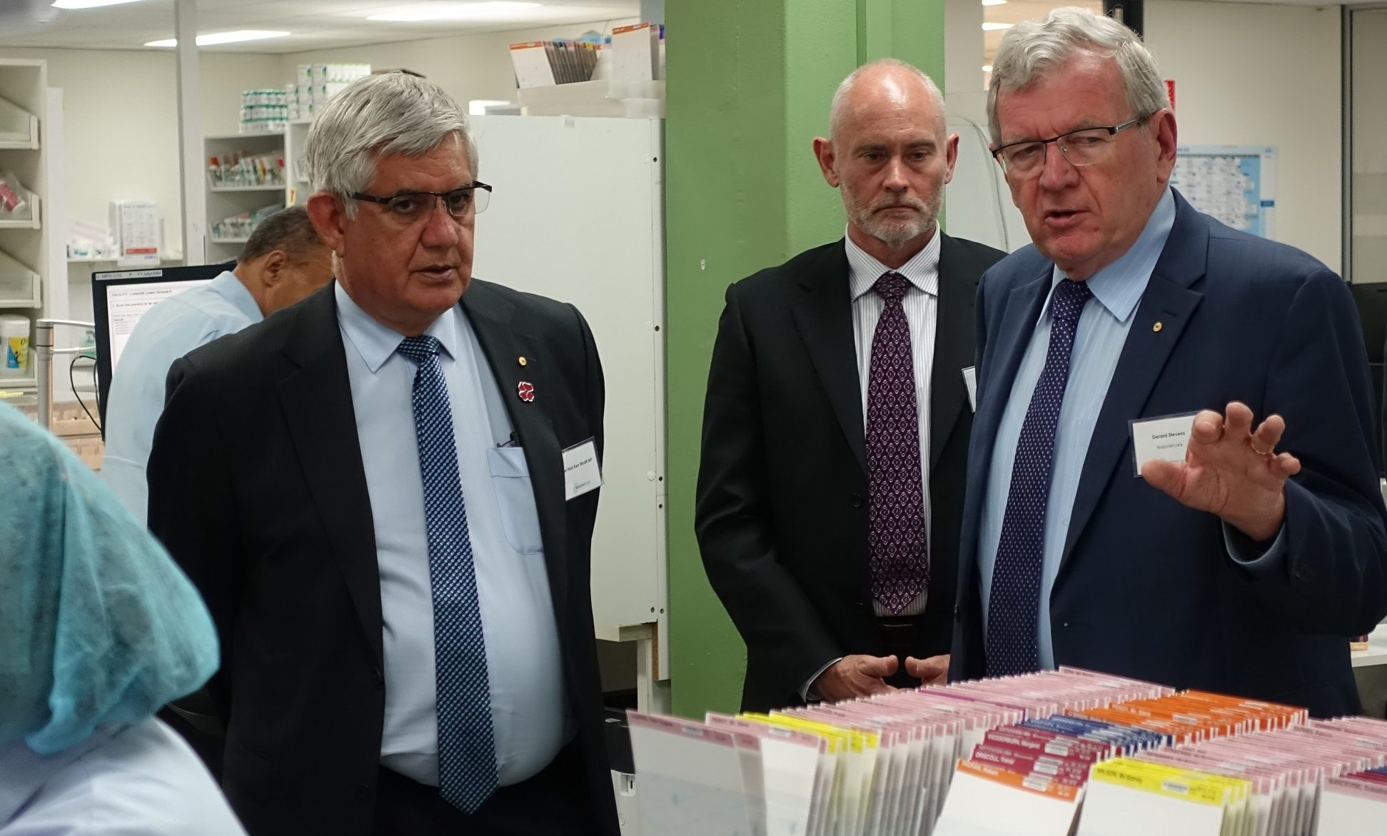 Webstercare Managing Director Gerard Stevens (r) demonstrates to Aged Care Minister Ken Wyatt (l) and chief-of-staff Nick Hartland (centre) the many processes and systems that go into supporting safe and effective medication management and profile curation for residents of aged care facilities.