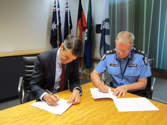 AHPRA CEO Martin Fletcher and WA Police AC Gary Budge sign MOU Dec 2018