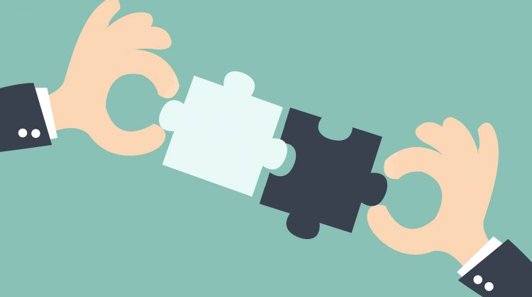 business matching - connecting puzzle elements