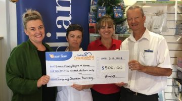 angeway Guardian Pharmacy hold up big cheque