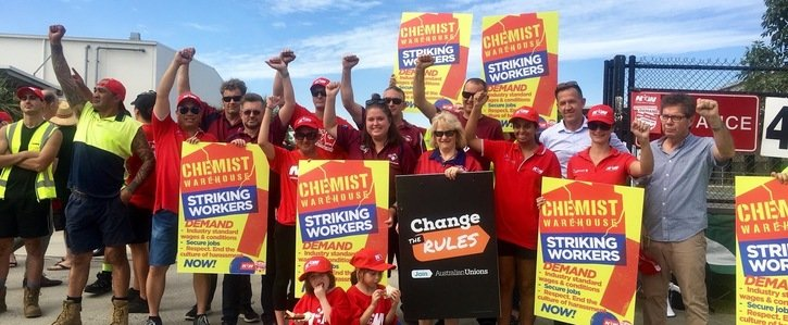 Striking Chemist Warehouse workers. Image courtesy NUW.