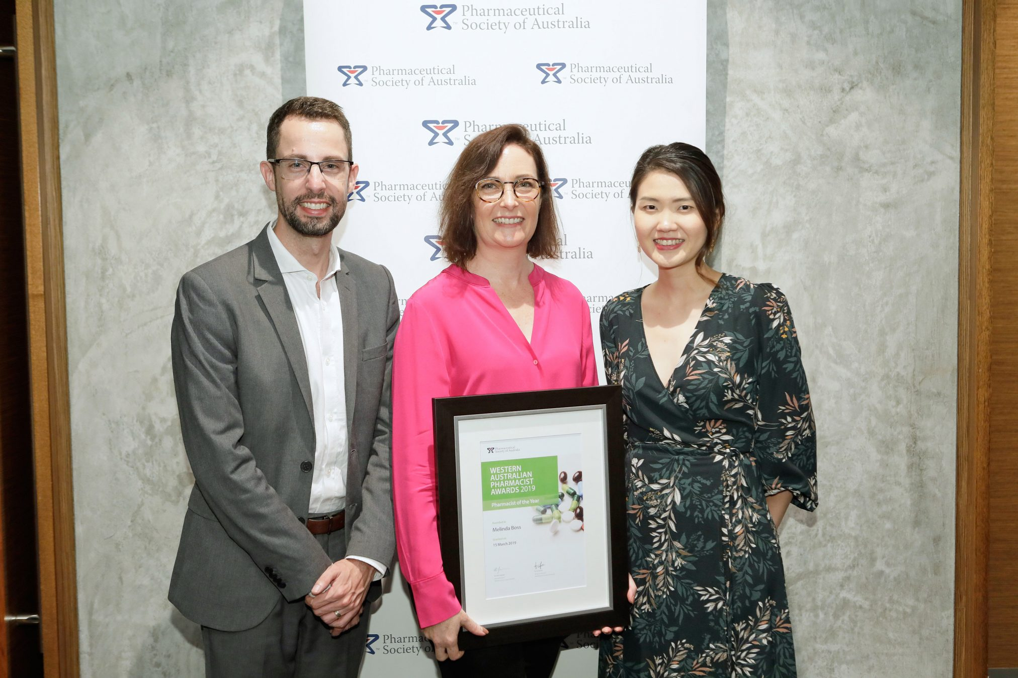 PSA National President Dr Chris Freeman, WA Pharmacist of the Year Melinda Boss and PSA WA President Dr Fei Sim