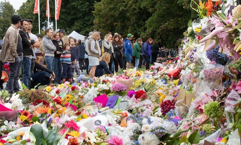 Christchurch flower wall.