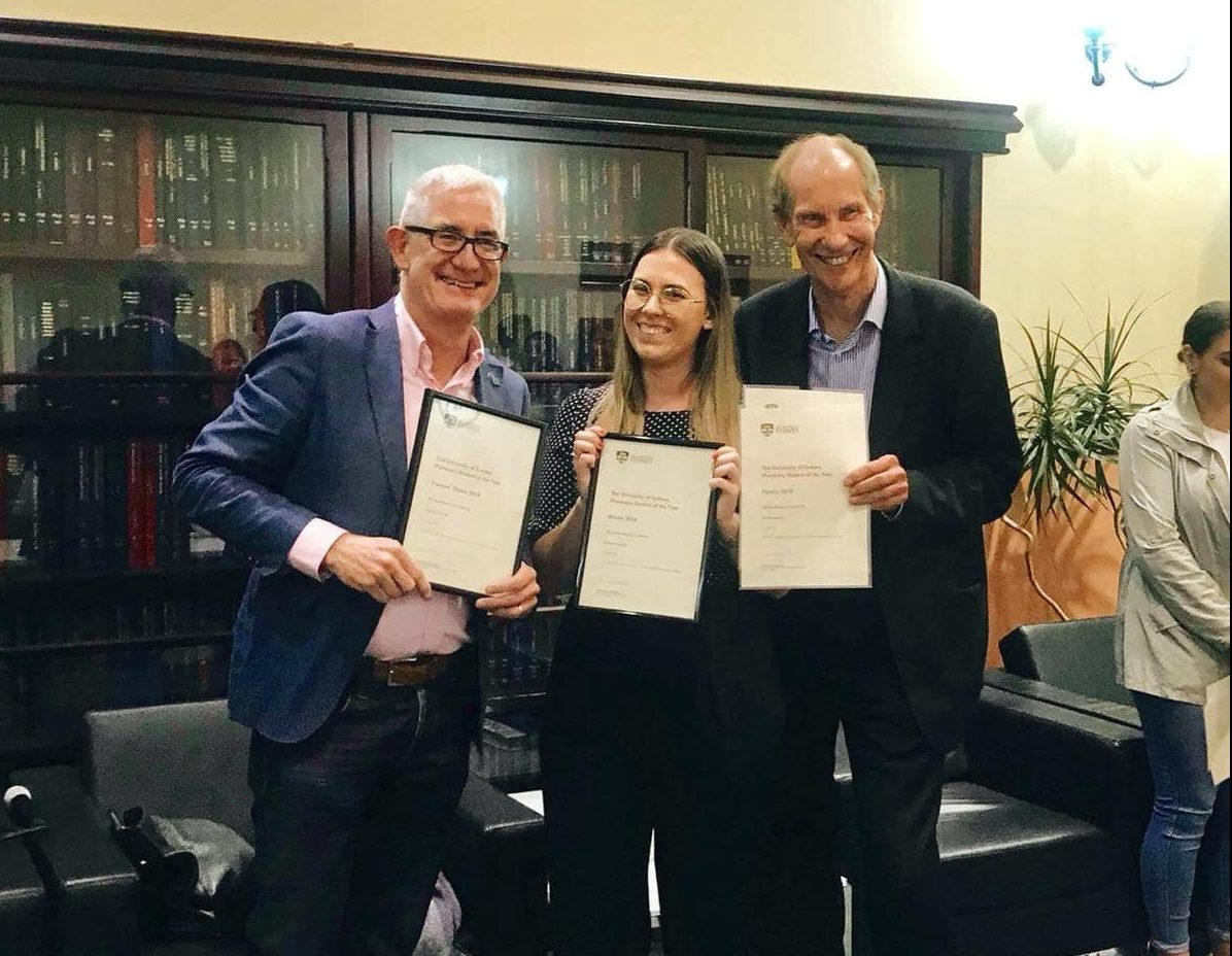 USyd Dean of Pharmacy Professor Andrew McLachlan, Katelyn Ingram and NSW PSA President Peter Carroll.