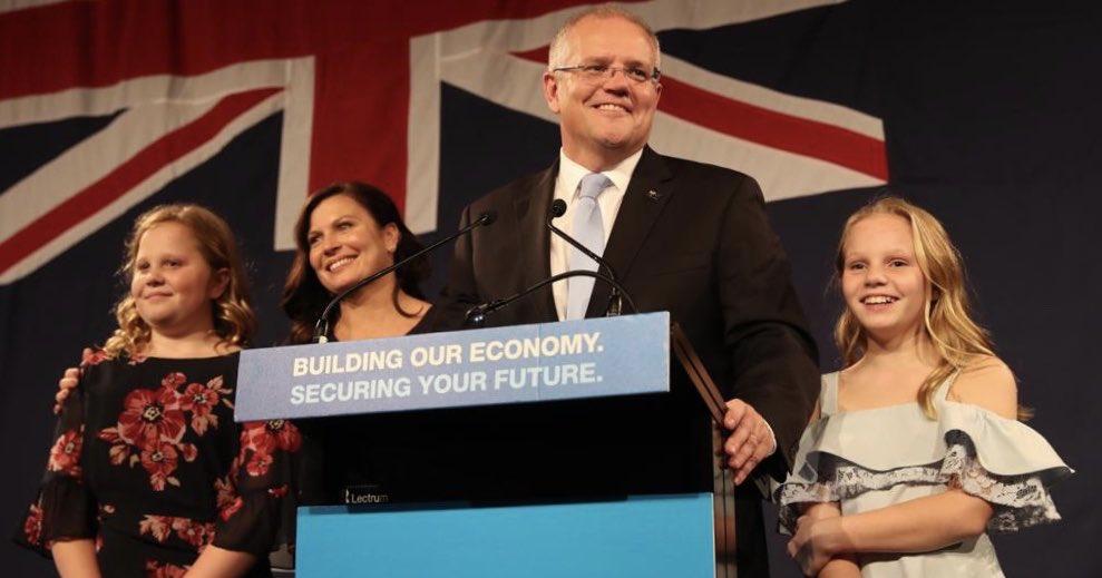 Scott Morrison claims victory for the Coalition. Image: Scott Morrison via Twitter