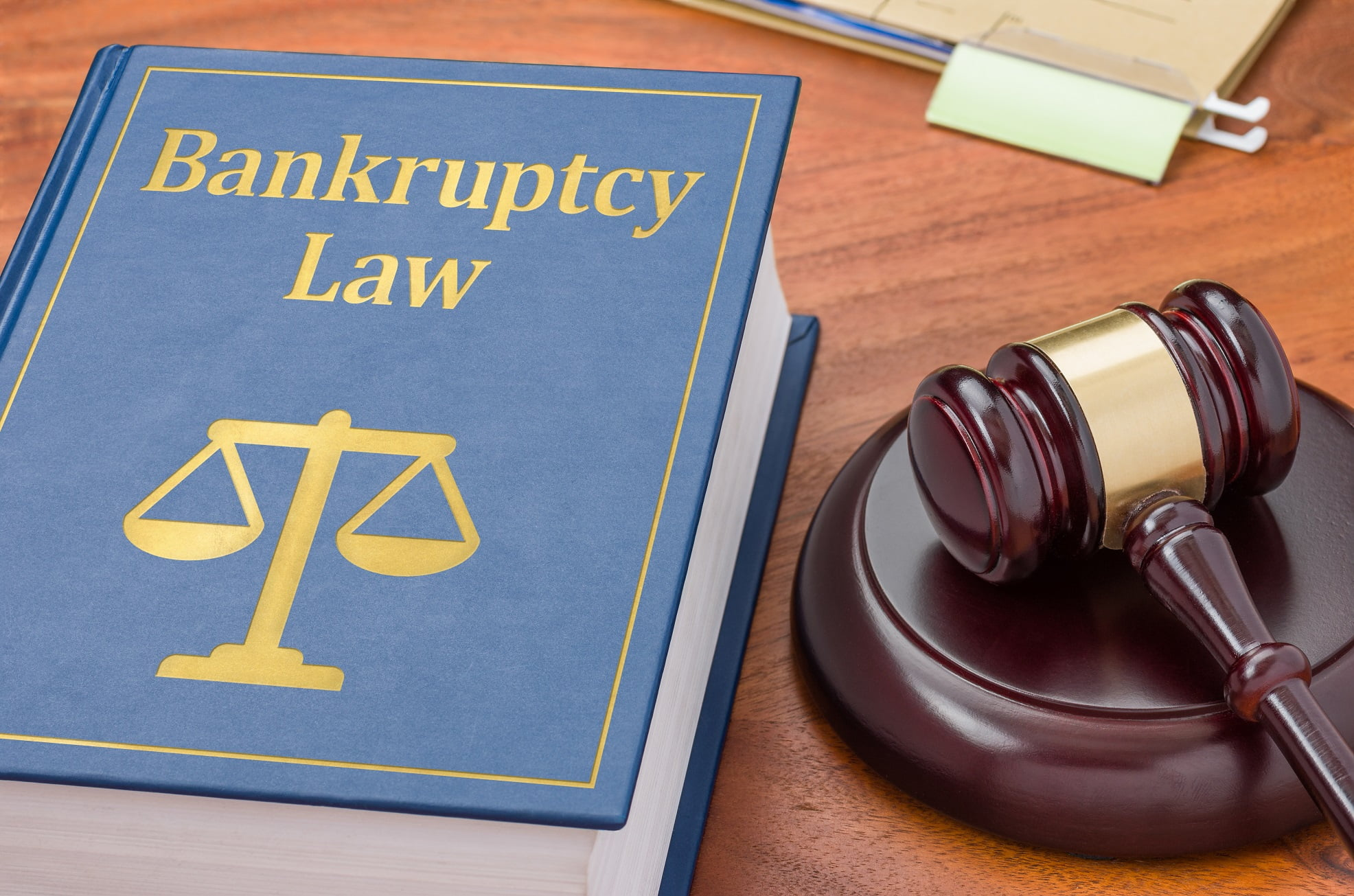 bankruptcy law book and gavel