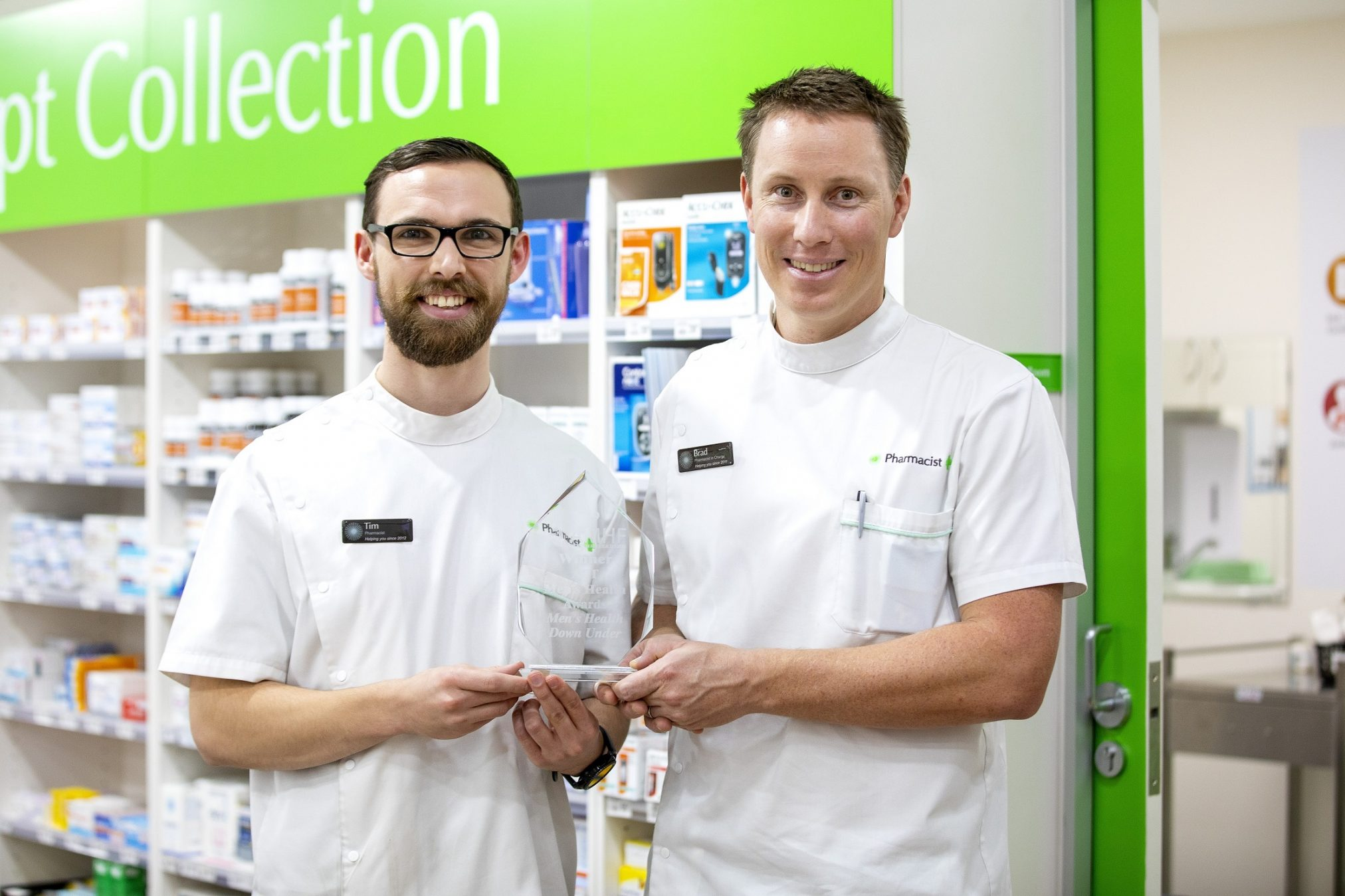 Tim Stewart and Bradley Butt from Men's Health Down Under, Cooleman Court Pharmacy, ACT. Photo credit: Peter Dawn - Fifth Lane Photography Weston.