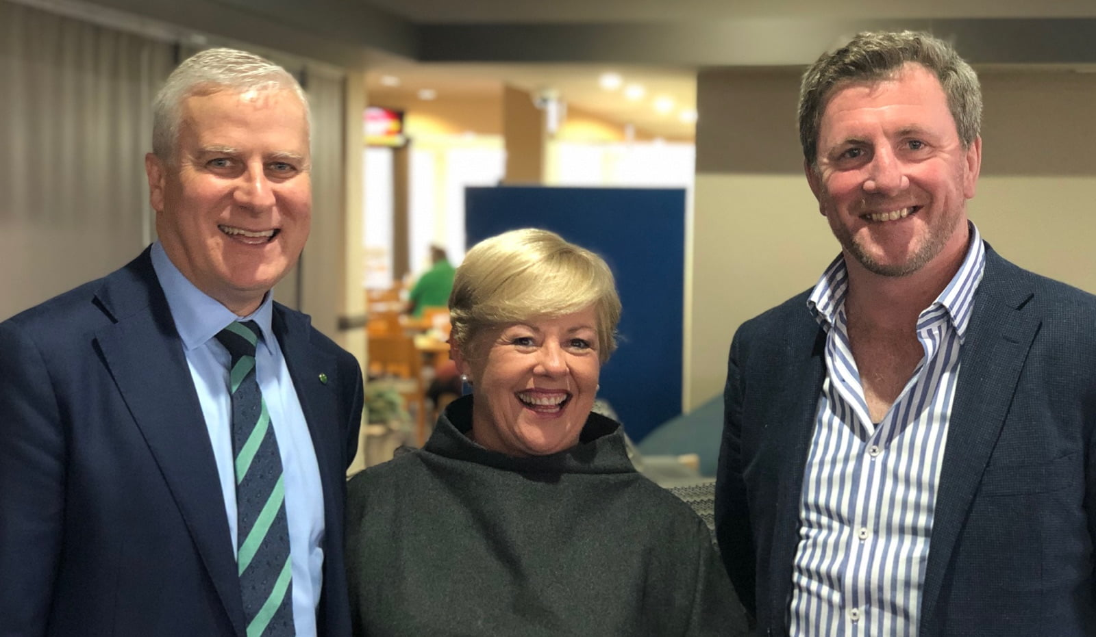 Deputy Prime Minister Michael McCormack with Judy Plunkett and NSW Guild president David Heffernan.
