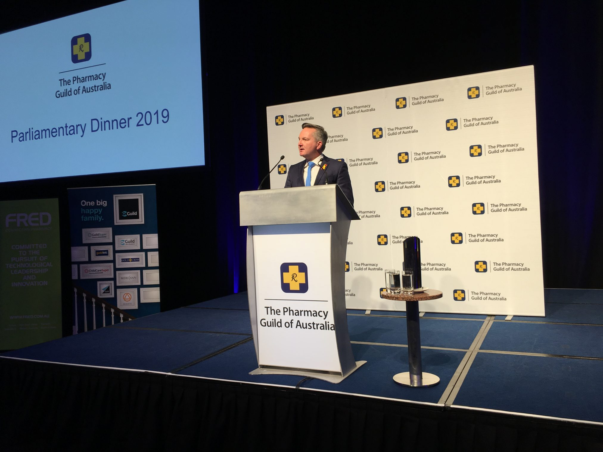 Chris Bowen addresses the 2019 Pharmacy Guild Parliamentary Dinner.