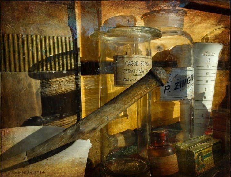 old apothecary jars and paraphernalia