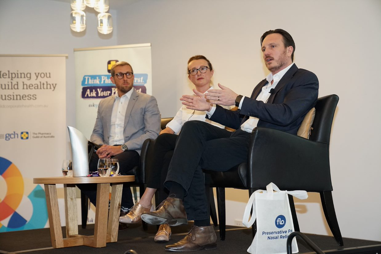 Norman Thurecht from Pitcher Partners, Marta Stybowski from Pharmacium and Andrew Pattinson from Instigo participated in a panel session