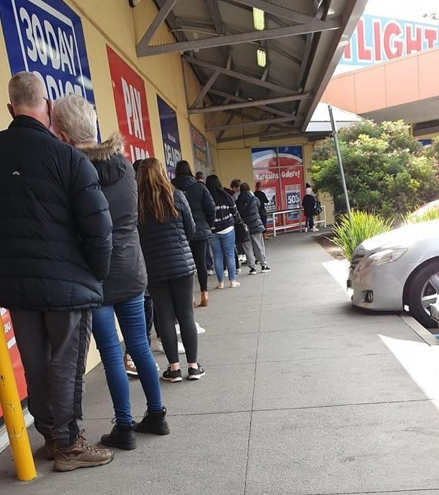 A queue forms outside a Spotlight store. Image: @Kathblue via Twitter