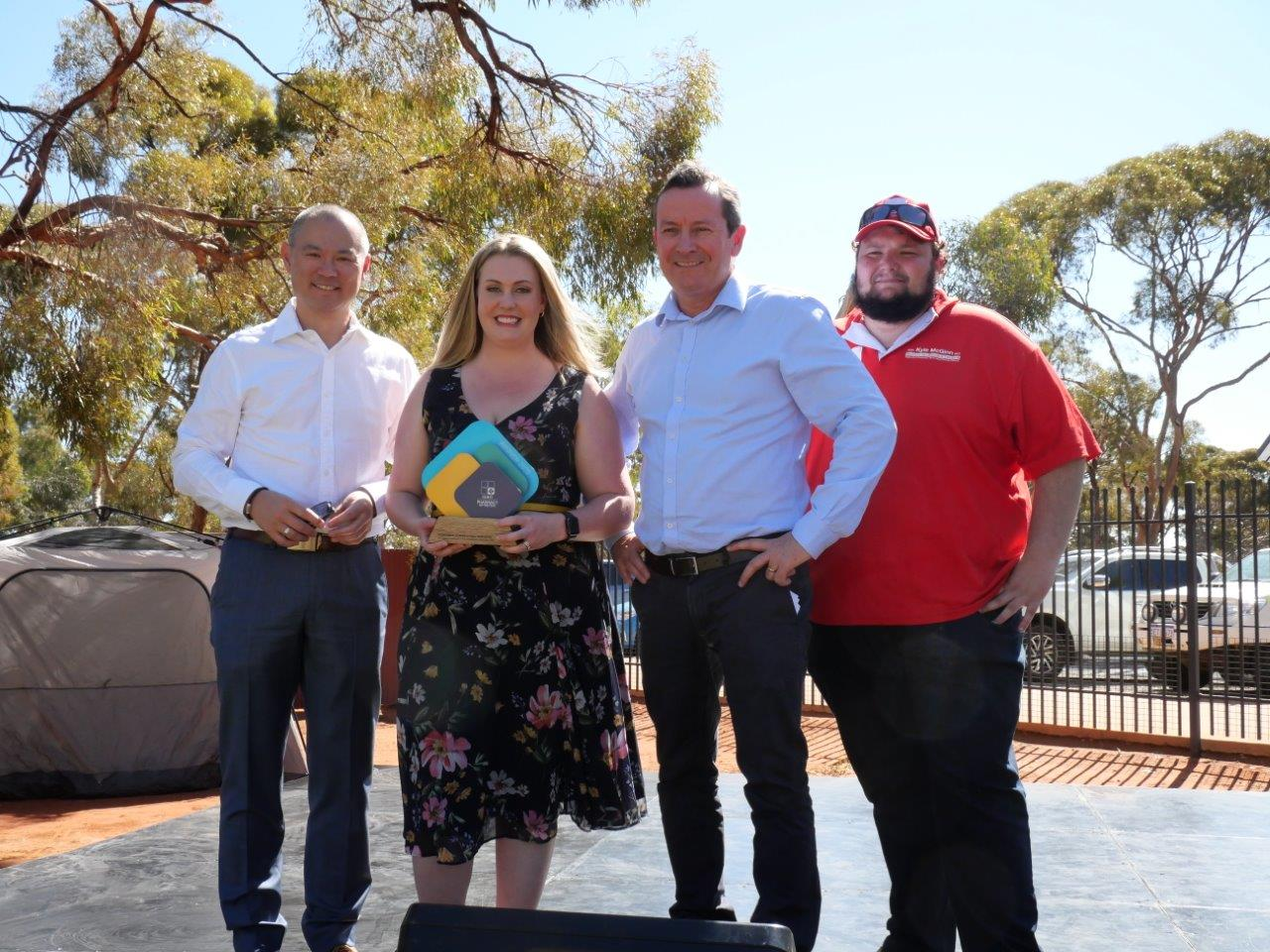 Pharmacy Guild of Australia WA Branch President Andrew Ngeow, Wizard Kal Central Proprietor Elise Wheadon, WA Premier Hon Mark McGowan, Hon. Kyle McGinn