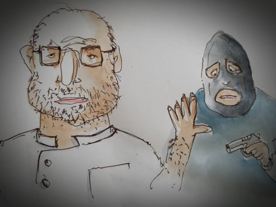 Cartoon burglar and immovable pharmacist