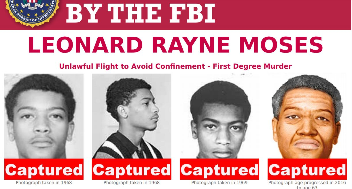 Leonard Rayne Moses partial FBI wanted poster showing mug shots